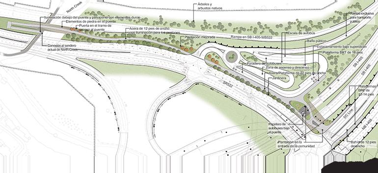Mapa del proyecto SR 522/NE 145th Stride BRT en Bothell. El mapa muestra cuatro paradas en la zona centro de Bothell, en 98th Ave NE, 104th Ave NE, University of Washington Bothell/Cascadia College a lo largo de Beardslee Boulevard, y Beardslee Boulevard/NE 195th St. Asimismo, muestra un Transit Hub en la intersección de SR 522/I-405, donde los usuarios podrán transbordar hacia y desde las paradas del BRT a lo largo de la I-405.