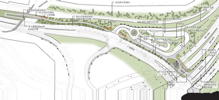 位于Bothell的SR 522/NE 145th Stride BRT项目地图。地图显示了Bothell市中心的4个车站,它们分别位于:98th Ave NE、104th Ave NE、Beardslee Boulevard上的华盛顿大学博塞尔校区/卡斯卡迪亚社区大学,以及NE 195th Street。地图还显示了位于SR 522/I-405立交桥的中转枢纽,乘客可以在这里换乘I-405沿线的BRT服务。
