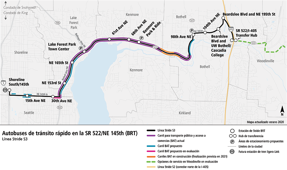 Mapa del corredor de SR 522/NE 145th BRT, que muestra 14 paradas de autobús desde Shoreline hasta Bothell. El mapa muestra el servicio Stride BRT que conecta con el tren ligero Link en Shoreline. Hay carriles para transporte público y acceso a comercios (BAT, por sus siglas en inglés) actuales y propuestos a lo largo de la ruta de BRT, así como lotes de estacionamiento en Lake Forest Park, Kenmore y Bothell. El servicio de Bothell a Woodinville se muestra de acuerdo con la evaluación que se está haciendo actualmente.