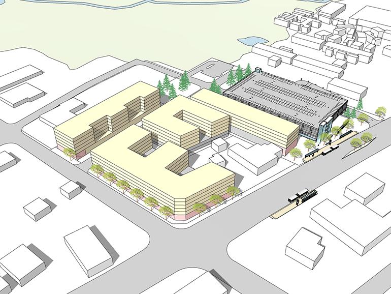 Imagen del concepto del futuro estacionamiento cubierto en Kenmore park-and-ride y posible TOD en los inmuebles aledaños.