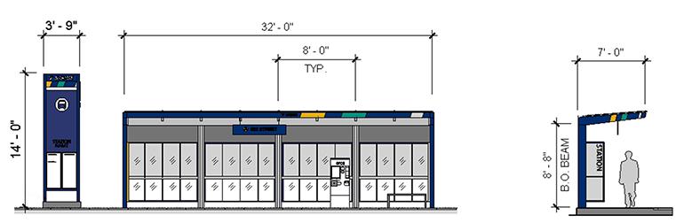 Imagen del concepto que muestra opciones de variaciones en la configuración de la estación Stride BRT. La imagen muestra dos opciones: una torre minimalista independiente y una estación Stride completa con una parada con toldo.