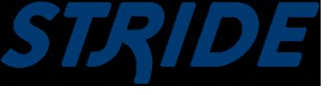 El logotipo de Sound Transit Stride BRT muestra la palabra Stride en fuente estilística azul oscuro en cursiva, negritas y mayúsculas.