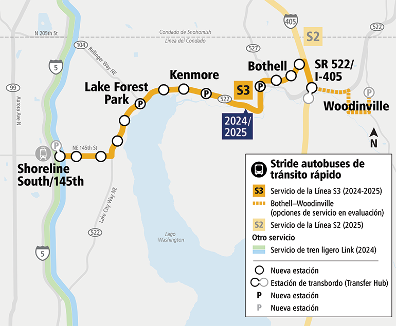 Mapa que muestra la Línea Stride S3 BRT a lo largo de SR 522 y NE 145th Street. El mapa muestra la Línea S3 de Shoreline a Bothell y actualmente se están evaluando opciones de servicio de Bothell a Woodinville. La Línea S3 consta de 14 estaciones y área de estacionamiento adicional en Lake Forest Park, Kenmore y Bothell. El mapa muestra el servicio de la Línea S3 a partir de 2024-2025.