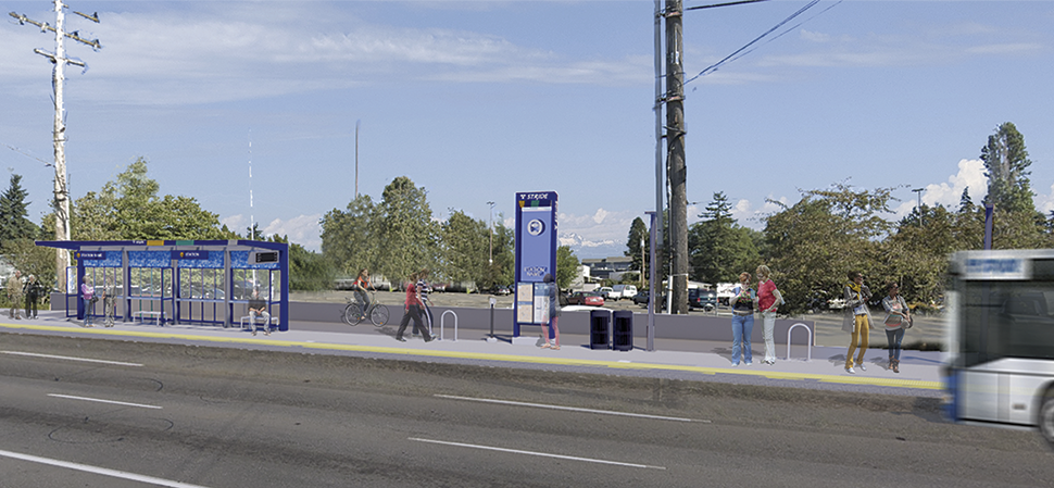 A rendering of a BRT station platform during the daytime is shown in Shoreline/Seattle