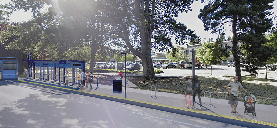 A rendering of a BRT station platform during the daytime is shown in Lake Forest Park