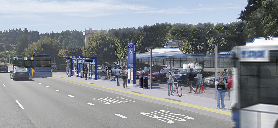 A rendering of a BRT station platform during the daytime is shown in Kenmore