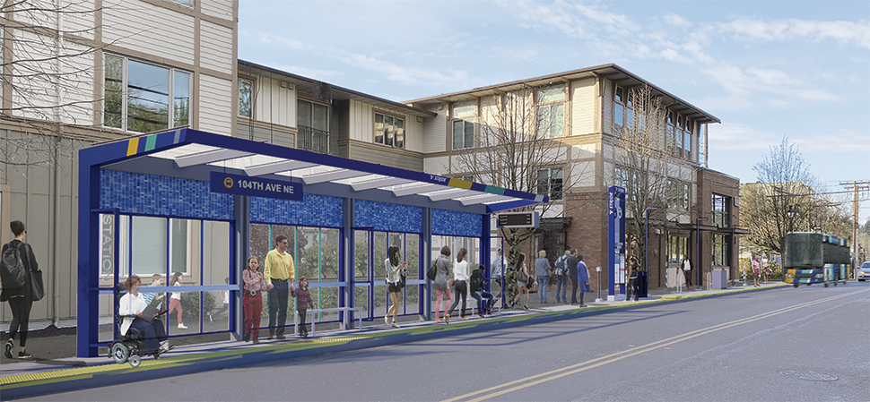 A rendering of a BRT station platform during the daytime is shown in downtown Bothell