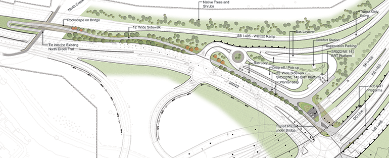 An aerial view shows WSDOT's proposed design of the future Transit Hub located at the SR 522/I-405 interchange.